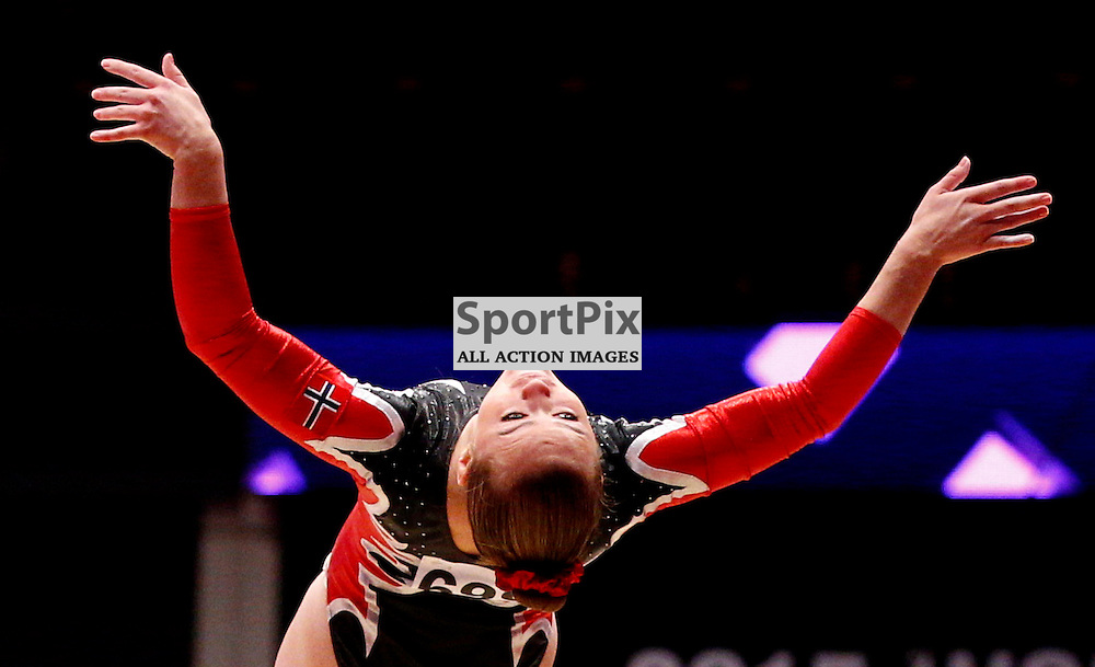 2015 Artistic Gymnastics World Championships being held in Glasgow from 23rd October to 1st November 2015...Sofie Bratten (Norway) competing in the Floor Exercise competition...(c) STEPHEN LAWSON   SportPix.org.uk
