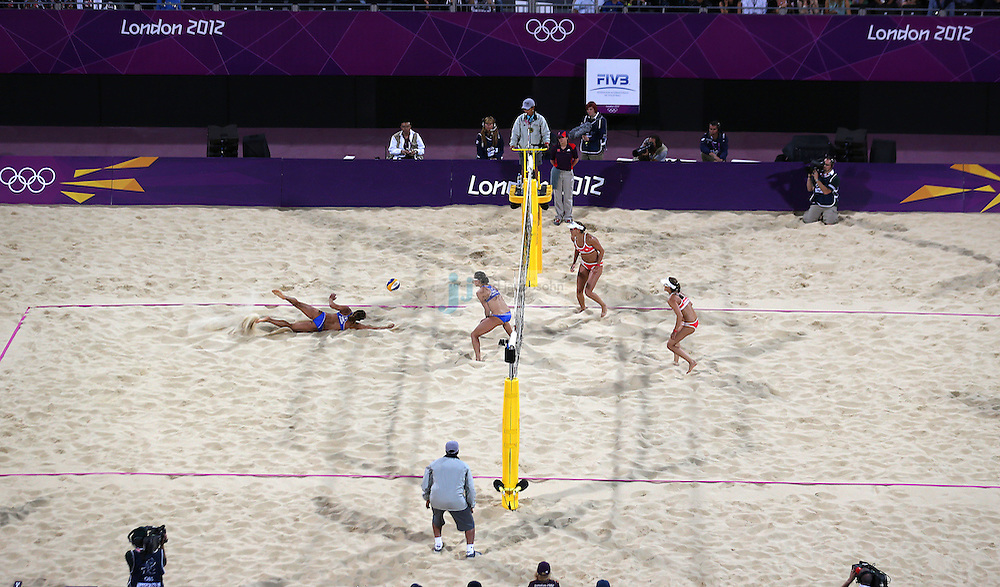 Simone Kuhn and Nadine Zumkehr from Switzerland (right) compete against Maria Tsiartsiani and Vasiliki Arvaniti from Greece during beach volleyball at Horse Guards Park on day 1 of the Olympic Games London, England, United Kingdom on 28 Jul 2012..(Jed Jacobsohn/for The New York Times)....