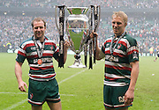 Geordan Murphy and Lewis Moody celebrate with the Guinness Trophy. The Guinness Premiership final 2010 between Leicester Tigers and Saracens at Twickenham Stadium, London, England. May 29th, 2010. .
