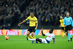 February 13, 2019 - London, England, United Kingdom - Tottenham defender Davinson Sanchez tackles Borussia Dortmund defender Abdou Diallo during the UEFA Champions League match between Tottenham Hotspur and Ballspielverein Borussia 09 e.V. Dortmund at Wembley Stadium, London on Wednesday 13th February 2019. (Credit: Jon Bromley | MI News & Sport Ltd) (Credit Image: © Mi News/NurPhoto via ZUMA Press)