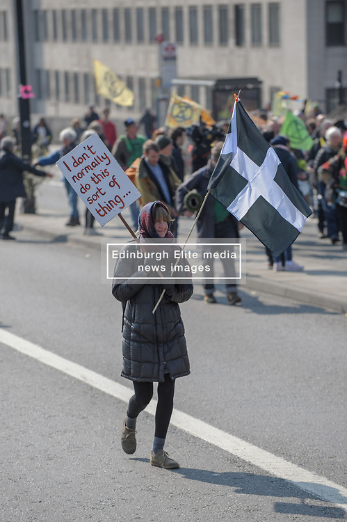 Members of Extinction Rebellion blocked Waterloo Bridge as part of the international rebellion where they will bring London to a standstill for up to two weeks. <br /> <br /> Richard Hancox | EEm 15042019