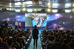 59870562  <br /> Students raise their hands to ask questions to the female astronaut Wang Yaping, one of the three crew members of Shenzhou-10 spacecraft at the High School Affiliated to Renmin University of China, in Beijing, capital of China, June 20, 2013. A special lecture began Thursday morning, given by a teacher aboard China s space module Tiangong-1 to students on Earth, Thursday June 20, 2013.<br /> UK ONLY