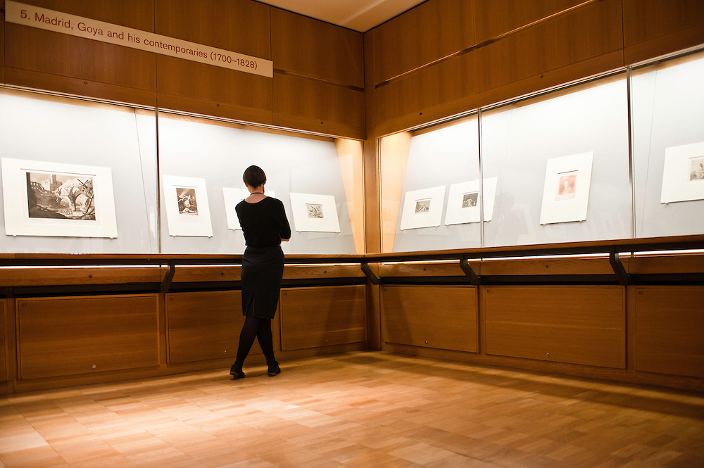 London, Uk - 18 September 2012: a woman views Goya's drawings during the Press Preview for the British Museum's Renaissance to Goya: Prints and Drawings from Spain exhibition curated by Mark McDonald