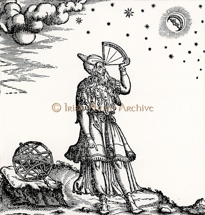 An astronomer, probably supposed to be Ptolemy of Alexandria (active 150 AD) observing the Moon and stars using a quadrant. Woodcut from 'Del Misuarar' by Silvio Belli (Venice, 1570).