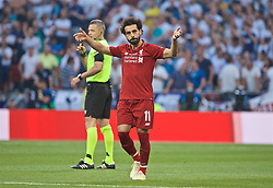 MADRID, SPAIN - SATURDAY, JUNE 1, 2019: Liverpool's Mohamed Salah celebrates scoring the first goal from a penalty kick during the UEFA Champions League Final match between Tottenham Hotspur FC and Liverpool FC at the Estadio Metropolitano. (Pic by David Rawcliffe/Propaganda)