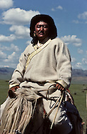 Mongolia. Gengis khan on his horse, Mr. Baljiniam shooting Gengis Khan movie  in Underchirit