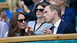 02.07.2014, All England Lawn Tennis Club, London, ENG, WTA Tour, Wimbledon, im Bild Catherine Kate Middleton and William Windsor (Duke and Dutchess of Cambridge) during the Ladies' Singles Quarter-Final match on day nine // during the Wimbledon Championships at the All England Lawn Tennis Club in London, Great Britain on 2014/07/02. EXPA Pictures © 2014, PhotoCredit: EXPA/ Propagandaphoto/ David Rawcliffe<br /> <br /> *****ATTENTION - OUT of ENG, GBR*****