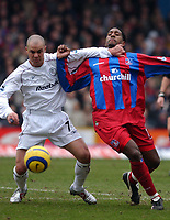 Fotball<br /> England 2004/2005<br /> Foto: SBI/Digitalsport<br /> NORWAY ONLY<br /> <br /> Crystal Palace v Bolton Wanderers<br /> 5/2/2005.<br /> Barclays Premiership<br /> <br /> Palace's Mikele Leigertwood and Bolton's Stelios fight for the ball.