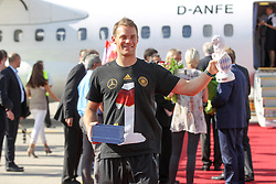 15.07.2014, Flughafen, Muenchen, GER, FIFA WM, Empfang der Weltmeister in Deutschland, Finale, im Bild Manuel Neuer #1 (Deutschland) // during Celebration of Team Germany for Champion of the FIFA Worldcup Brazil 2014 at the Flughafen in Muenchen, Germany on 2014/07/15. EXPA Pictures © 2014, PhotoCredit: EXPA/ Eibner-Pressefoto/ Kolbert  *****ATTENTION - OUT of GER*****