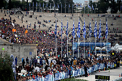 November 12, 2017 - Athens, Attica, Greece - People wait at the Panathenaic stadium for the runners during the 35th Athens Classic Marathon in Athens, Greece, November 12, 2017. (Credit Image: © Giorgos Georgiou/NurPhoto via ZUMA Press)