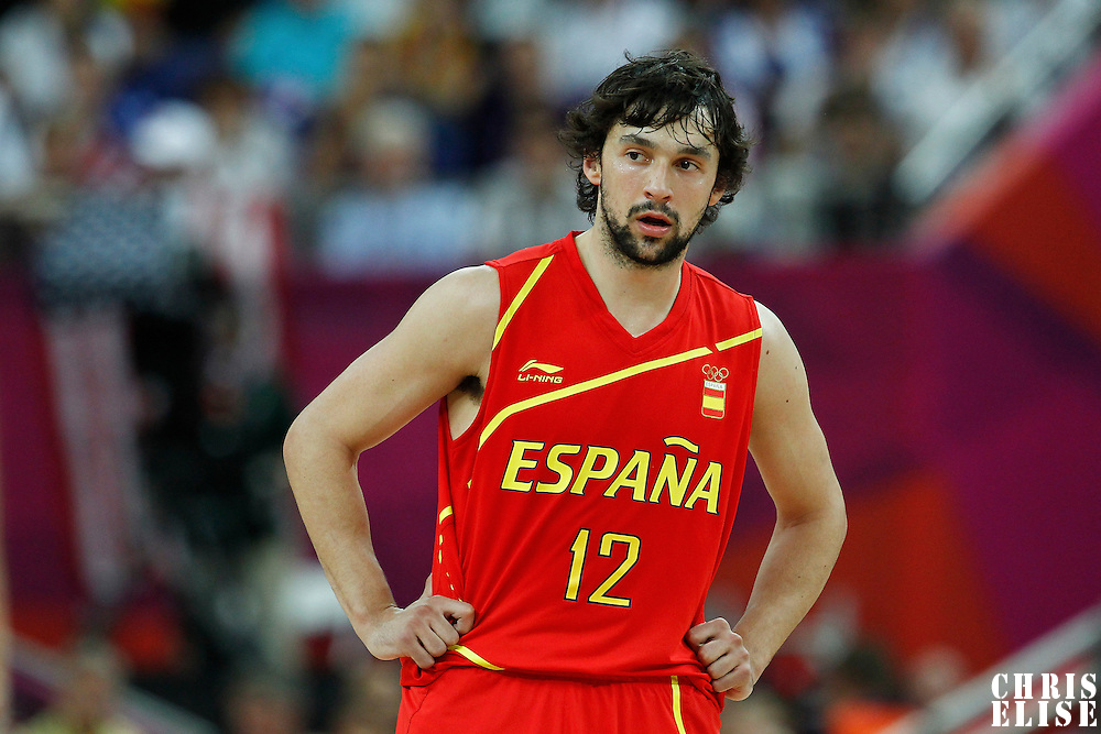 12 August 2012: Spain Sergio Llull rests during 107-100 Team USA victory over Team Spain, during the men's Gold Medal Game, at the North Greenwich Arena, in London, Great Britain.