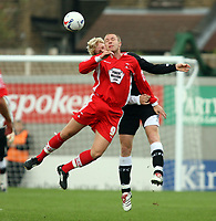 Photo: Chris Ratcliffe.<br />Leyton Orient v Swansea City. Coca Cola League 1. 26/08/2006.<br />Gary Alexander (front) of Leyton Orient clashes with Alan Tate of Swansea.