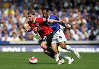 Photo: Paul Thomas.<br /> Everton v Manchester United. The Barclays Premiership. 28/04/2007.<br /> <br /> Ole Gunnar Solskjaer (L) of Utd gets away from Joleon Lescott.