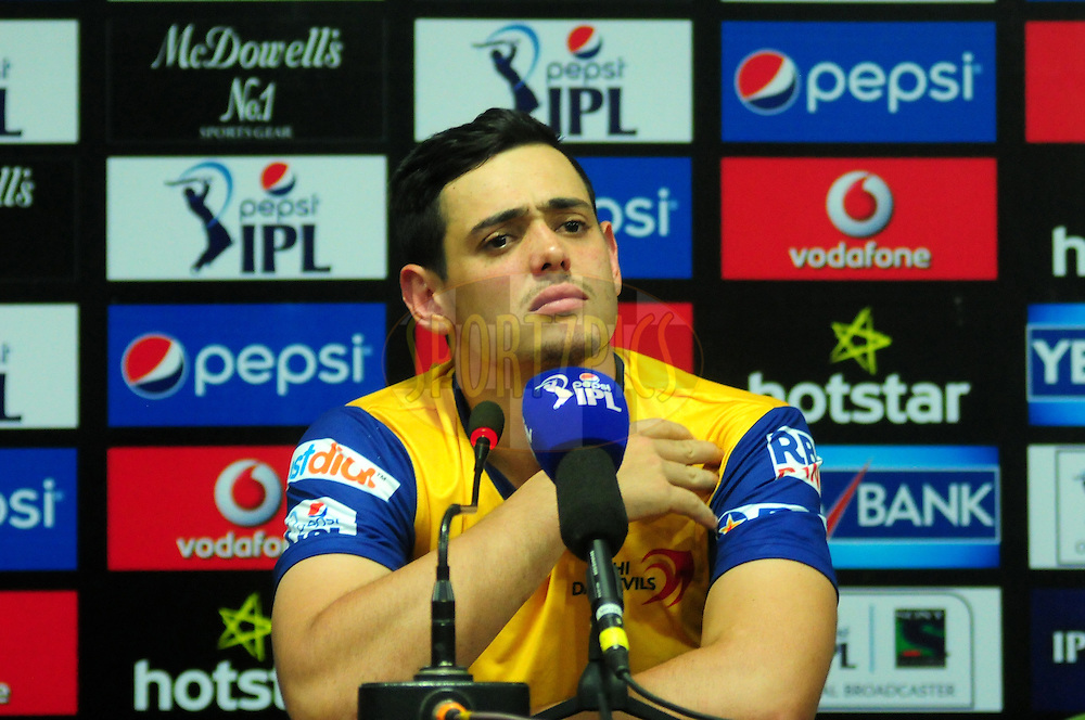 Quinton de Kock of the Delhi Daredevils during the press conference after the match 45 of the Pepsi IPL 2015 (Indian Premier League) between The Delhi Daredevils and the Sunrisers Hyderabad held at the Shaheed Veer Narayan Singh International Cricket Stadium in Raipur, India on the 9th May 2015.<br /> <br /> Photo by:  Arjun Panwar / SPORTZPICS / IPL