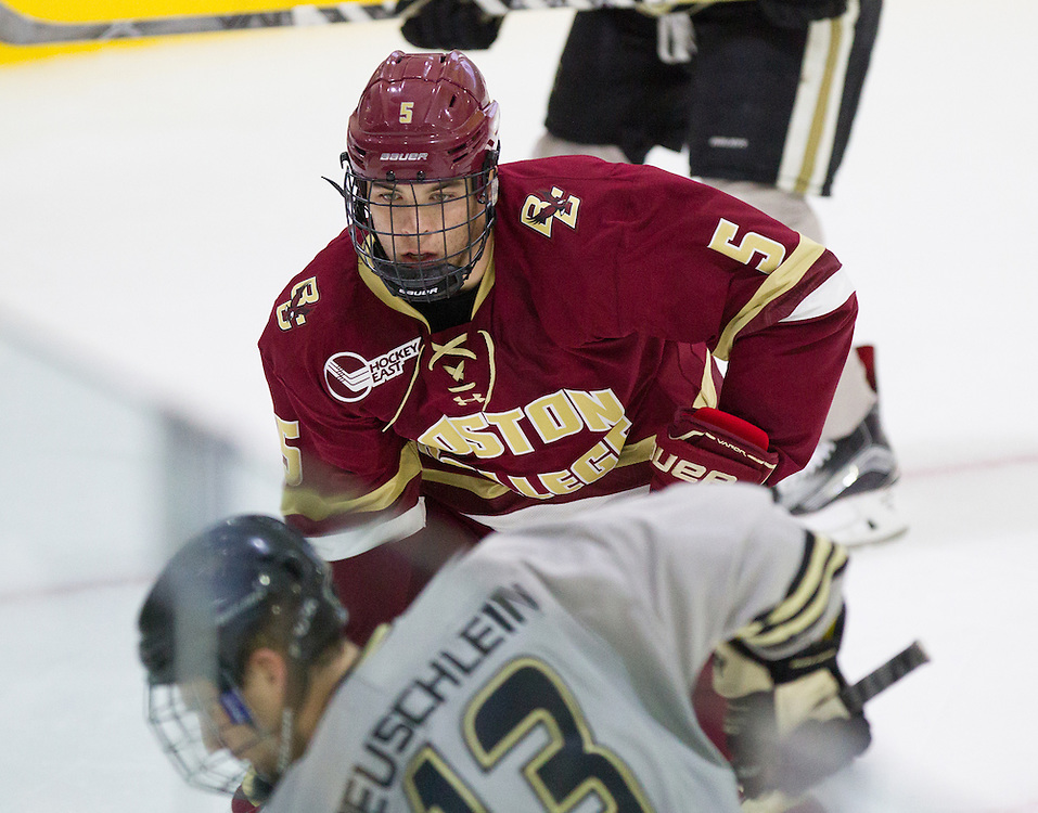 Boston College Defenseman Casey Fitzgerald (5) prepares to make a check during the first period of a NCAA hockey game between Army and Boston College at Tate Rink on October 9, 2015 in West Point, New York. (Dustin Satloff)