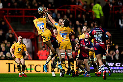 Zach Kibirige of Wasps, Charlie Matthews of Wasps contends for the aerial ball with Chris Vui of Bristol Bears - Mandatory by-line: Ryan Hiscott/JMP - 27/12/2019 - RUGBY - Ashton Gate - Bristol, England - Bristol Bears v Wasps - Gallagher Premiership Rugby