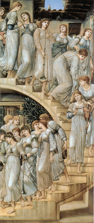 Sir Edward Coley Burne-Jones, 1833 – 1898, British artist .  The Golden Stairs, 1876-1880, Oil on canvas, 109x46 in, 269.s x 116.8 cm, signed and dated EBJ 1880, The Tate Gallery, London