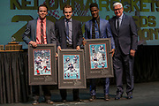 KELOWNA, CANADA - MARCH 19:  20 Year Old's Presentation with Rodney Southam, Reid Gardiner and Michael Herringer with Bruce Hamilton at the Kelowna Rockets Awards Ceremony on March 19, 2017 at the Kelowna Community Theater in Kelowna, British Columbia, Canada.  (Photo By Cindy Rogers/Nyasa Photography,  *** Local Caption ***