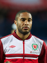 OSIJEK, CROATIA - Tuesday, October 16, 2012: Wales' captain Ashley Williams lines-up before the Brazil 2014 FIFA World Cup Qualifying Group A match against Croatia at the Stadion Gradski Vrt. (Pic by David Rawcliffe/Propaganda)