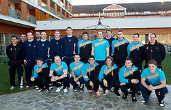 Team photo: first line from L: Sebastian Skube, Miha Zvizej, Luka Zvizej, Jure Dobelsek, Dean Bombac, Marko Bezjak and Jure Dolenec; Second line: Bojan Cotar, Uros Mahoric, Gorazd Skof, Boris Denic, Peter Pucelj, Matej Gaber, Borut Mackovsek, Gasper Marguc, Uros Zorman, David Miklavcic, Matjaz Brumen,  and Sokol Kadrija at press conference of Slovenian Handball Men National Team, on January 13, 2011, in Zrece, Slovenia. (Photo by Vid Ponikvar / Sportida)