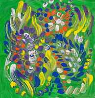 Multicolored abstract flower composition like image with fluid shapes, bended lines and dots in green, blue, yellow, white, purple and orange colors.