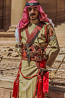 Petra, Jordan - May 11, 2013 arab legion soldier portrait in Nabatean Petra Jordan middle east