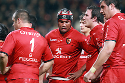 Thierry Dusautoir and team mates await the referee's decision. Stade Toulousain v Glasgow Warriors, Heineken Cup, Stade Ernest Wallon, Toulouse, France, 21st December 2010.