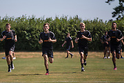FGR players doing shuttle runs during the first day back at training for Forest Green Rovers at the New Lawn, Forest Green, United Kingdom on 2 July 2018. Picture by Shane Healey.
