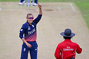 England womens cricket player Alex Hartley  appeals for the LBW and Pakistan womens cricket player Asmavia Iqbal Khokhar is given out during the ICC Women's World Cup match between England and Pakistan at the Fischer County Ground, Grace Road, Leicester, United Kingdom on 27 June 2017. Photo by Simon Davies.