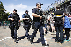 © Licensed to London News Pictures. 27/05/2017. London, UK.   Armed police are seen outside Twickenham stadium ahead of the Aviva Premiership Rugby Final. Security has been increased at venues across the UK, with the military called in to help police, following a terrorist attack at a music concert in Manchester on Monday evening. Photo credit: Peter Macdiarmid/LNP