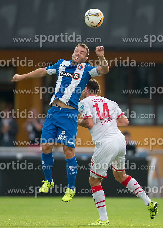 22.07.2015, Grenzland Stadion, Kufstein, AUT, Testspiel, 1. FC Köln vs RCD Espanyol Barcelona, im Bild v.l. Franciso Montanas Clavarias (Espanyol Barcelona), Jonas Hector (1. FC Koeln) // during the International Friendly Football Match between 1. FC Cologne and RCD Espanyol Barcelona at the Grenzland Stadion in Kufstein, Austria on 2015/07/22. EXPA Pictures © 2015, PhotoCredit: EXPA/ Johann Groder