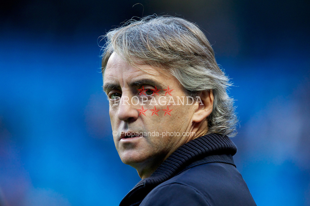 MANCHESTER, ENGLAND - Saturday, October 27, 2012: Manchester City's manager Roberto Mancini before the Premiership match against Swansea City at the City of Manchester Stadium. (Pic by Vegard Grott/Propaganda)
