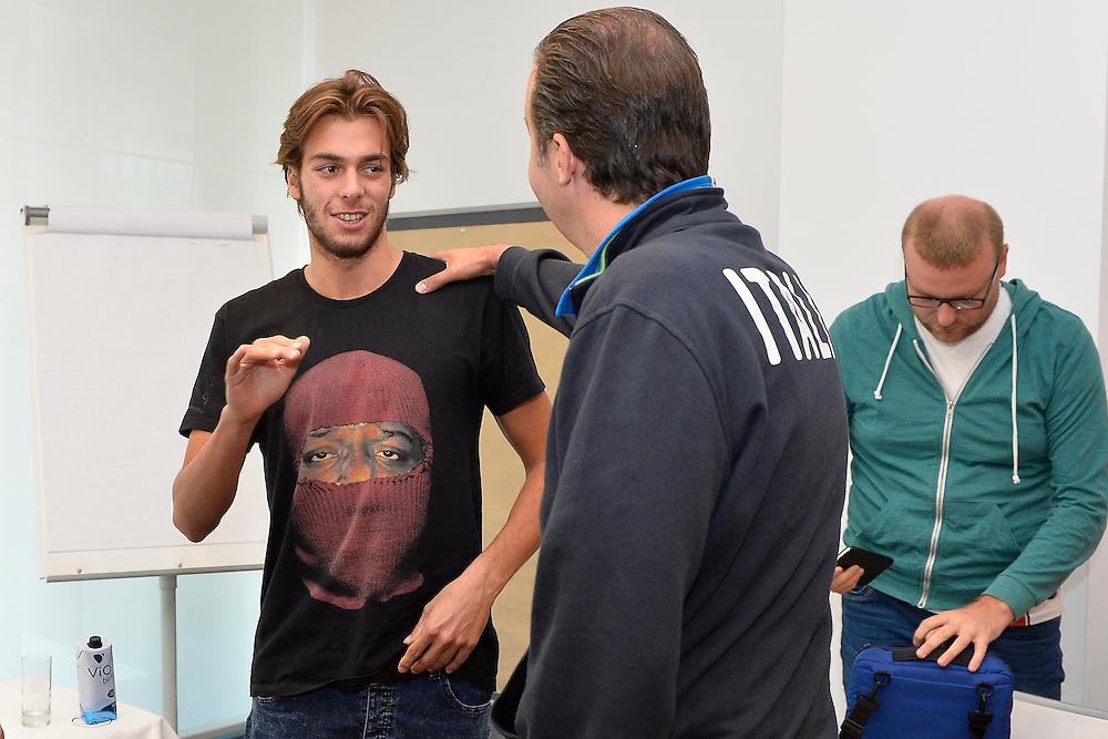 DESCRIZIONE: Berlino EuroBasket 2015 - Allenamento<br /> GIOCATORE: Giorgio platiniferi Simone Pianigiani<br /> CATEGORIA: Conferenza Stampa<br /> SQUADRA: Italia Italy<br /> EVENTO:  EuroBasket 2015 <br /> GARA: Berlino EuroBasket 2015 - Allenamento<br /> DATA: 04-09-2015<br /> SPORT: Pallacanestro<br /> AUTORE: Agenzia Ciamillo-Castoria/M.Longo<br /> GALLERIA: FIP Nazionali 2015<br /> FOTONOTIZIA: Berlino EuroBasket 2015 - Allenamento