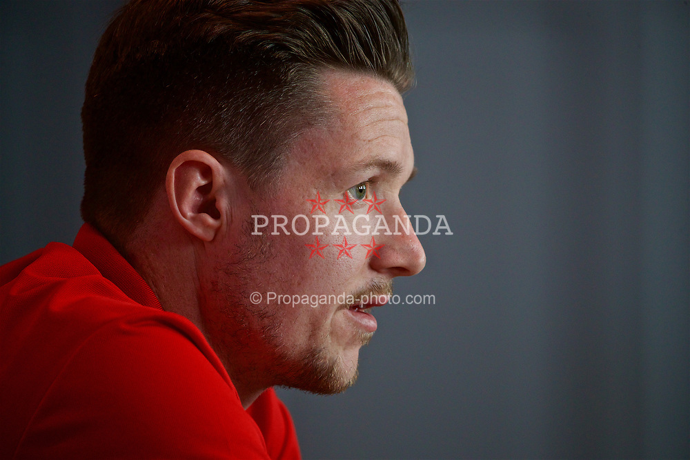 CARDIFF, WALES - Wednesday, March 22, 2017: Wales' goalkeeper Wayne Hennessey during a press conference at the Vale Resort ahead of the 2018 FIFA World Cup Qualifying Group D match against Republic of Ireland. (Pic by David Rawcliffe/Propaganda)
