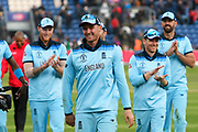 England win - Jason Roy of England is applauded off the field for his match winning performance by the England players after the team beat Bangladesh by 106 runs during the ICC Cricket World Cup 2019 match between England and Bangladesh the Cardiff Wales Stadium at Sophia Gardens, Cardiff, Wales on 8 June 2019.