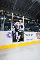 KELOWNA, CANADA - NOVEMBER 6: Devan Faford #2 of the Red Deer Rebels enters the ice at warm up against the Kelowna Rockets on NOVEMBER 6, 2013 at Prospera Place in Kelowna, British Columbia, Canada.   (Photo by Marissa Baecker/Shoot the Breeze)  ***  Local Caption  ***