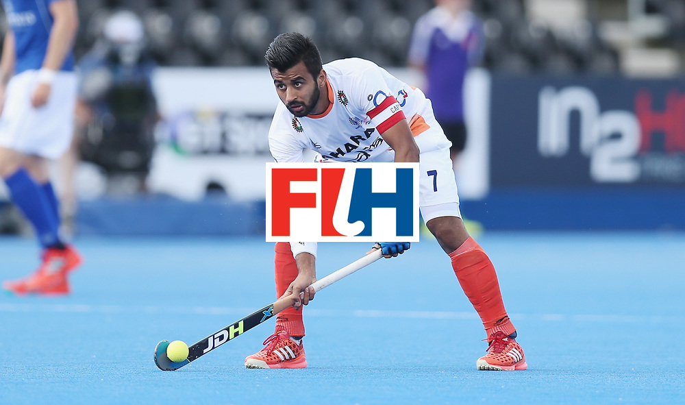 LONDON, ENGLAND - JUNE 15:  Manpreet Singh of India  during the Hero Hockey World League Semi Final match between India and Scotland at Lee Valley Hockey and Tennis Centre on June 15, 2017 in London, England.  (Photo by Alex Morton/Getty Images)