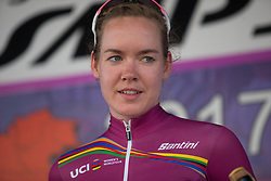\annva of \boel celebrates taking over the UCI Women's World Tour's overall leader's purple jersey after Stage 10 of the Giro Rosa - a 124 km road race, starting and finishing in Torre Del Greco on July 9, 2017, in Naples, Italy. (Photo by Balint Hamvas/Velofocus.com)