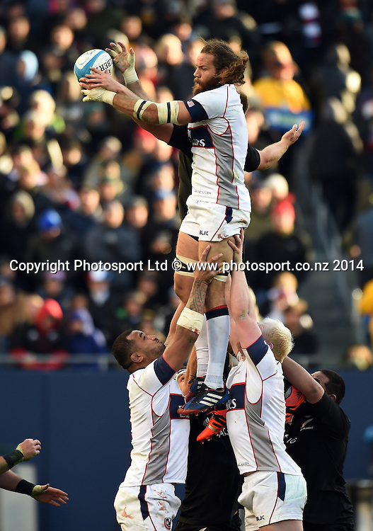 USA captain Todd Clever in action during the Rugby Union test match between the New Zealand All Blacks and USA Eagles at Soldier Field. Chicago, USA on Saturday 1 November 2014. Photo: Andrew Cornaga/www.Photosport.co.nz