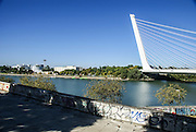 Alamillo Bridge Seville, Andalucia, Spain. Architect Santiago Calatrava.