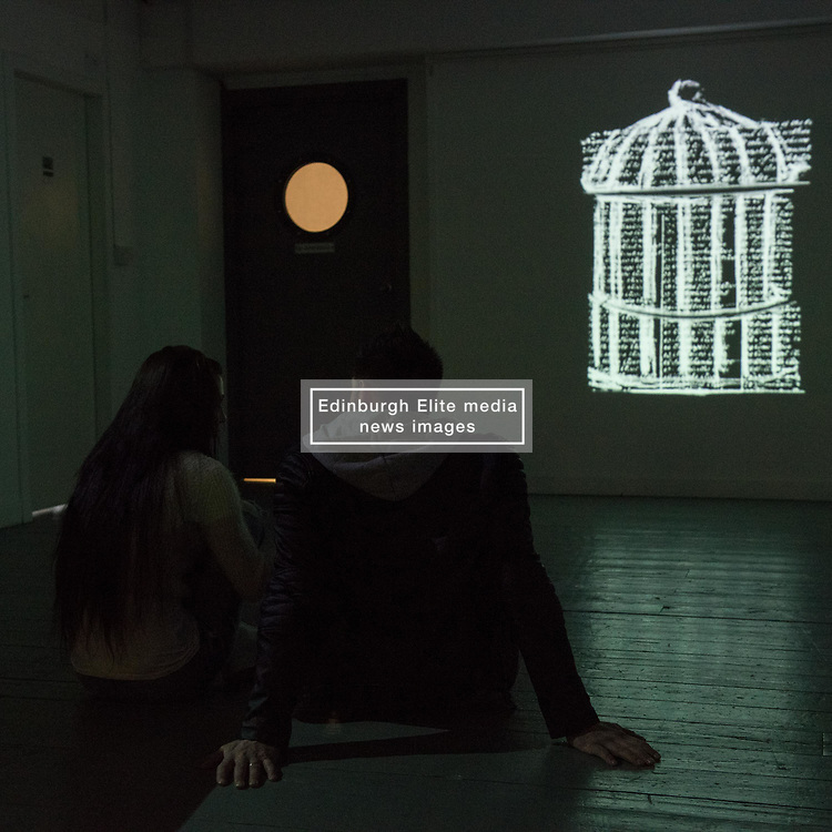 A brief exhibition is on at Coburg House Art Studios Leith this weekend. Entitled 'The Liminal Space' by Elina Karadzhova, a postgraduate student at Napier University, it explores the in-between status experienced my many people in Edinburgh, born elsewhere but now thinking of Edinburgh as 'home'. Two video installations make use of material collected from participants in her research.<br /> <br /> <br /> © Jon Davey/ EEm