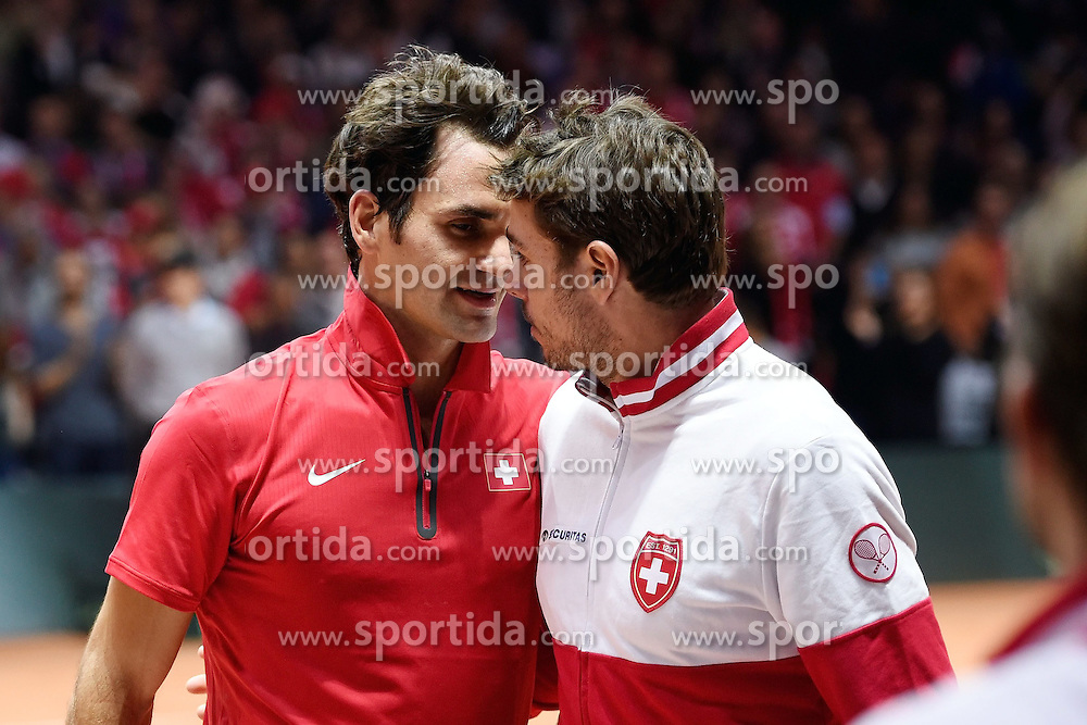 21.11.2014, Stade Pierre Mauroy, Lille, FRA, Davis Cup Finale, Frankreich vs Schweiz, im Bild Roger Federer und Stan Wawrinka (SUI) // during the Davis Cup Final between France and Switzerland at the Stade Pierre Mauroy in Lille, France on 2014/11/21. EXPA Pictures &copy; 2014, PhotoCredit: EXPA/ Freshfocus/ Daniela Frutiger<br /> <br /> *****ATTENTION - for AUT, SLO, CRO, SRB, BIH, MAZ only*****