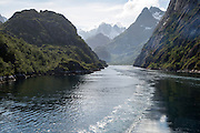 Steep sided glacial trough fiord of Trollfjorden, Lofoten Islands, Nordland, northern, Norway
