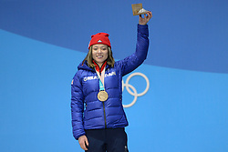 February 17, 2018 - Pyeongchang, South Korea - ISABEL ATKIN of Great Britain celebrates getting the bronze medal in the Ladies' Slopestyle freestyle skiing event in the PyeongChang Olympic Games. (Credit Image: © Christopher Levy via ZUMA Wire)