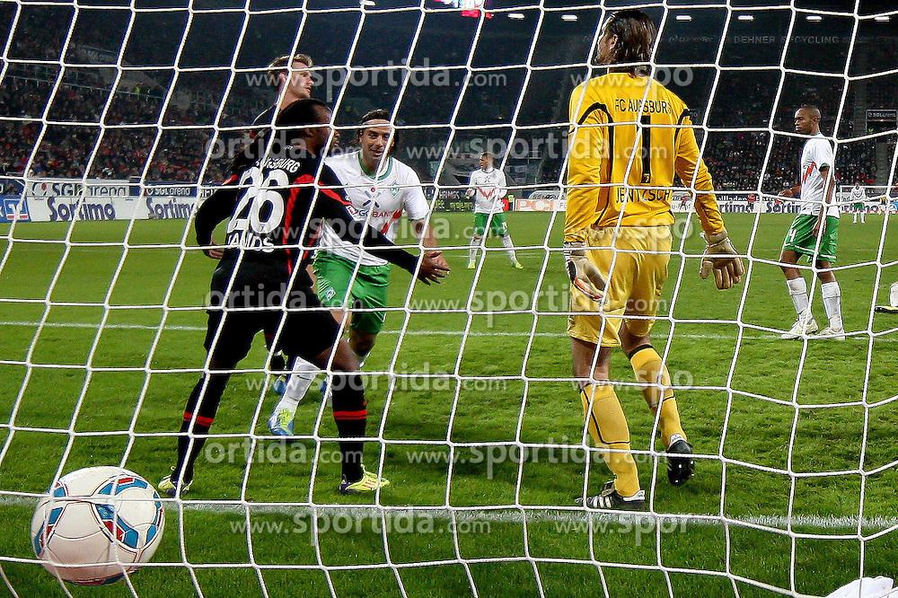 21.10.2011, SGL Arena, Augsburg, GER, 1.FBL, FC Augsburg vs. Werder Bremen, im Bild Tor zum 1-1 durch Claudio Pizarro (Bremen #24) mit Lorenzo Davids (Augsburg #26) und Simon Jentzsch (Augsburg #1)  // during the FC Augsburg vs. Werder Bremen , on 2011/10/21, SGL Arena, Augsburg, Germany, EXPA Pictures © 2011, PhotoCredit: EXPA/ nph/  Straubmeier       ****** out of GER / CRO  / BEL ******