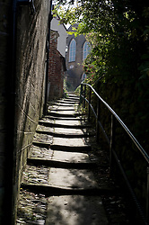 Cobbled streets of Robin Hoods Bay north Yorkshire.September 2010 .Images © Paul David Drabble