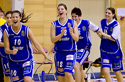 Players of Celje Kristina Verbole,  Lea Jagodic,  Anja Klavzar (16)  celebrate at finals match of Slovenian 1st Women league between KK Hit Kranjska Gora and ZKK Merkur Celje, on May 14, 2009, in Arena Vitranc, Kranjska Gora, Slovenia. Merkur Celje won the third time and became Slovenian National Champion. (Photo by Vid Ponikvar / Sportida)