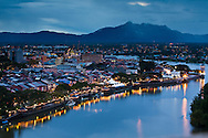 Shophouses and colonial era buildings of Kuching along the banks for the Sarawak River