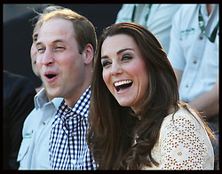 The Duke and Duchess of Cambridge watch a bird display at Taronga Zoo in Sydney, Australia, Sunday, 20th April 2014. Picture by Stephen Lock / i-Images