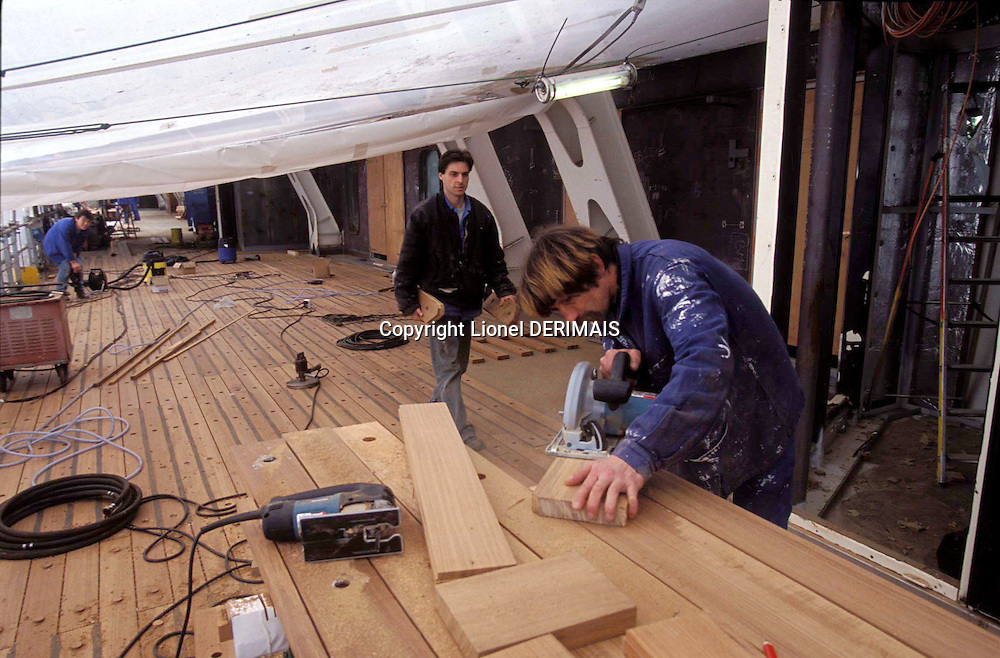 Queen Mary 2 under construction in the Chantiers de l'Atlantique in Saint-Nazaire, France in 2003.